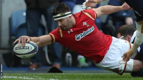 Rhys Webb scores against Scotland in the 2017 Six Nations