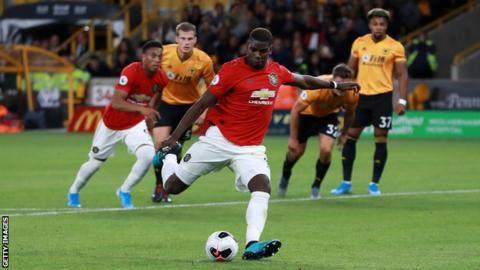 Paul Pogba misses a penalty against Wolves
