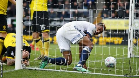 Britt Assombalonga looks around after scoring for Middlesbrough