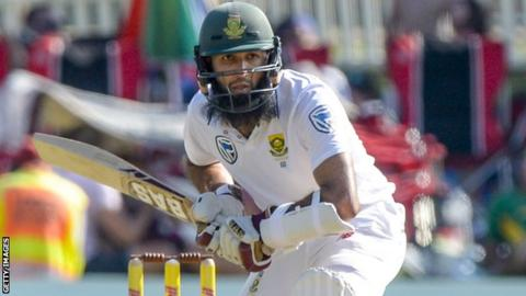 South Africa batsman Hashim Amla prepares to face a delivery