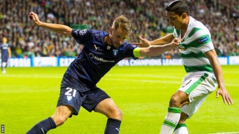 Kari Arnason in action against Celtic