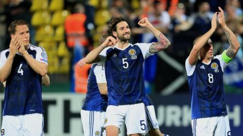 Scotland's Christophe Berra, Charlie Mulgrew and Scott Brown celebrate in Vilnius