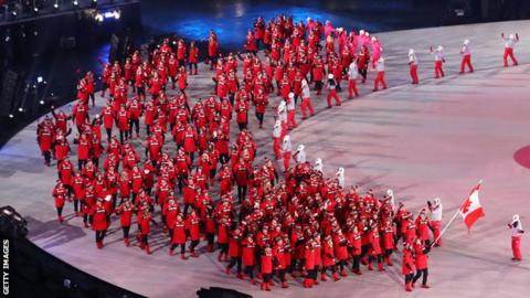 The Canadian delegation at the opening ceremony