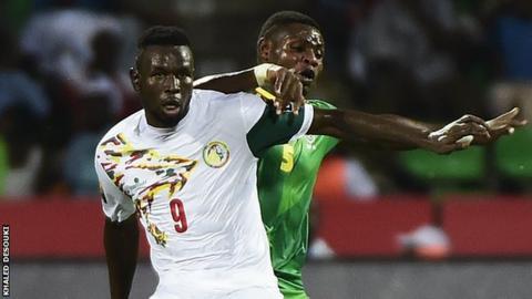 Senegal striker Mame Biram Diouf (right)