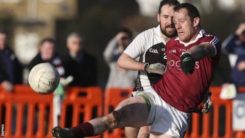 Slaughtneil's Patsy Bradley gets his shot away in the quarter-final against St Kiernan's