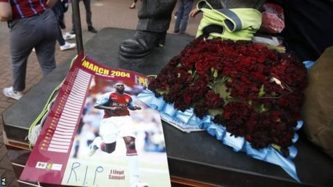 Tributes to Jlloyd Samuel have been left outside Aston Villa's ground