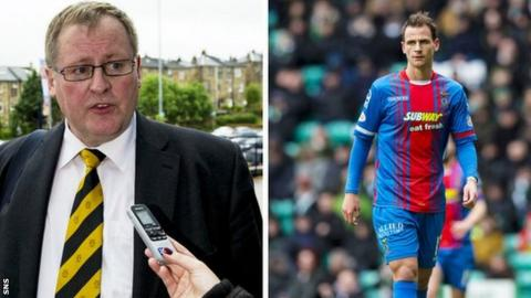 Annan Athletic chairman Henry McClelland (left) and Inverness CT midfielder Lewis Horner