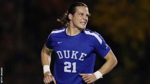 Markus Fjortoft celebrates with Duke University