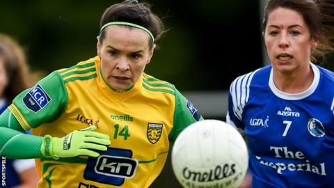 Donegal's Geraldine McLaughlin moves clear of Cavan defender Joanne Moore