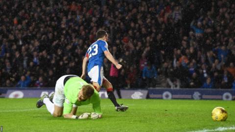 Jason Holt scores for Rangers against Hibernian
