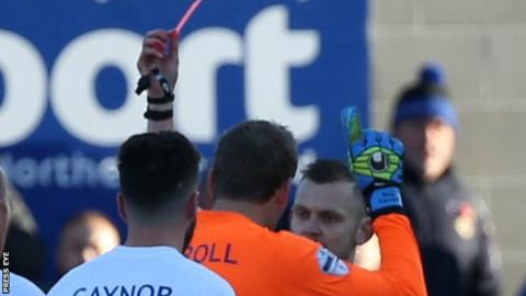 Linfield goalkeeper Roy Carroll was angry to receive a straight red card from referee Tim Marshall in Saturday's 2-2 draw with Glenavon