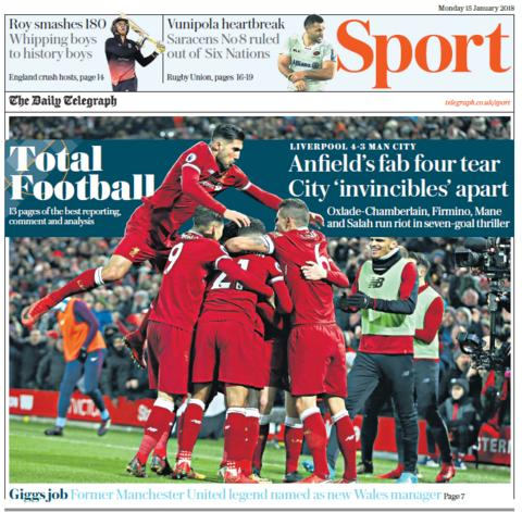 The Telegraph sport section on Monday