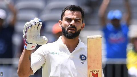 India captain Virat Kohli acknowledges his century in Perth against Australia