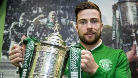 Lewis Stevenson helped Hibs to Scottish Cup success in 2016