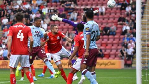 Ezri Konsa scores for Aston Villa against Crewe in the Carabao Cup