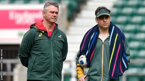 Van Graan (r) was first appointed as Springbok forwards coach by Heyneke Meyer