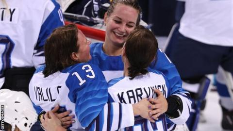 Finland celebrate beating the Olympic Athletes from Russia
