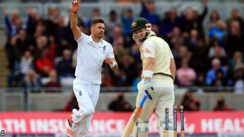 James Anderson celebrates the wicket of Peter Nevill
