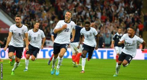 Rickie Lambert scores on his England debut