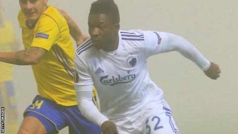 Danny Amankwaa in action for FC Copenhagen in a Europa League match against FC Zlin