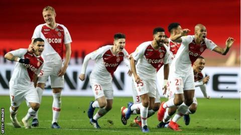 Monaco celebrate winning penalty