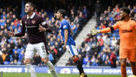 Kyle Lafferty passed up a late chance for Hearts