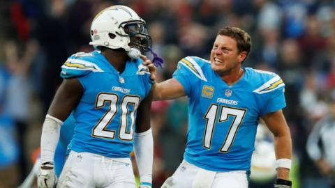Los Angeles Chargers' Desmond King and Philip Rivers