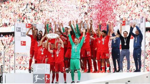 Bayern celebrate their 2019 Bundesliga title triumph