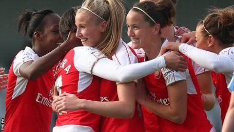 Arsenal congratulate Marta Corredera on her first-half goal against Birmingham