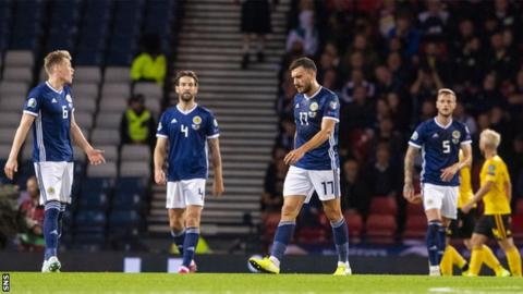 Scotland players looking dejected