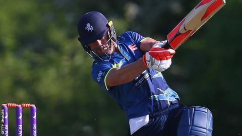 Kent batsman Heino Kuhn plays a shot