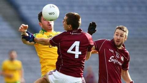 Donegal's Patrick McBrearty comes up against Galway pair Cathal Sweeney and Michael Lundy