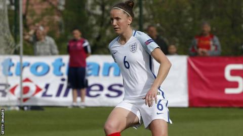Casey Stoney playing for England