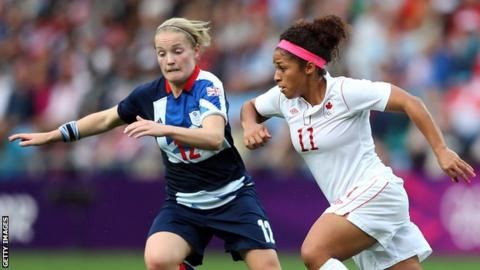 Kim Little, left, was one of two Scots to play for Team GB at London 2012