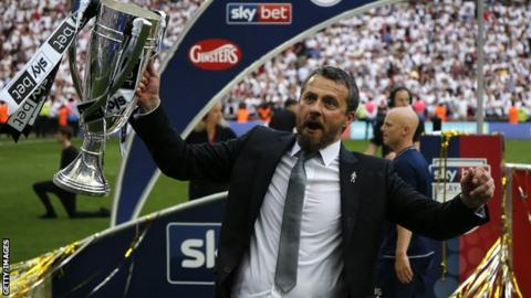 Fulham manager Slavisa Jokanovic celebrates with the Championship play-off trophy