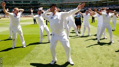 Graeme Swann leads the 'Sprinkler' dance after England retain the Ashes with victory in Melbourne in 2010