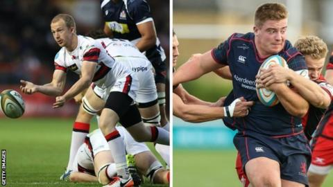 Doncaster scrum-half Michael Heaney (left) and London Scottish hooker Isaac Miller