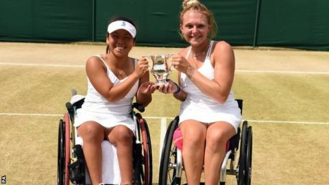 Yui Kamiji and Jordanne Whiley pose with their doubles trophy