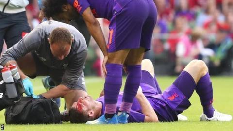 Liverpool's James Milner suffers head injury