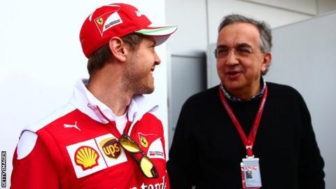 Sergio Marchionne and Sebastian Vettel