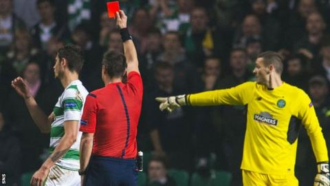 Celtic's Nir Bitton is sent off against Molde
