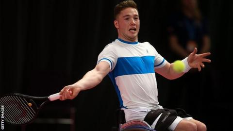 Alfie Hewett in action at the Wheelchair Tennis Masters in Loughborough in December