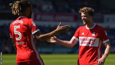 Patrick Bamford (right) celebrates scoring for Middlesbrough against Ipswich