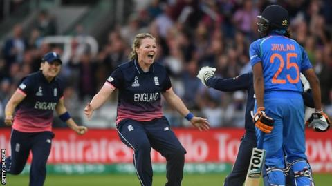 England bowler Anya Shrubsole celebrates taking a wicket in the 2017 World Cup final