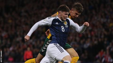 Oliver Burke in action for Scotland
