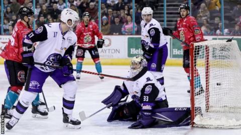 Darcy Murphy fires into the Glasgow net to put the Giants in front on Saturday night