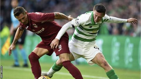 Callum McGregor (right) was played out of position at left-back in the 4-3 defeat