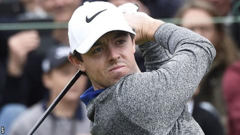 Rory McIlroy in third-round action