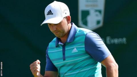 Sergio Garcia shows his delight after carding his eighth birdie of the day on 17