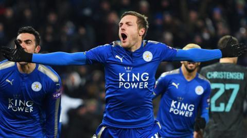 Vardy celebrates goal